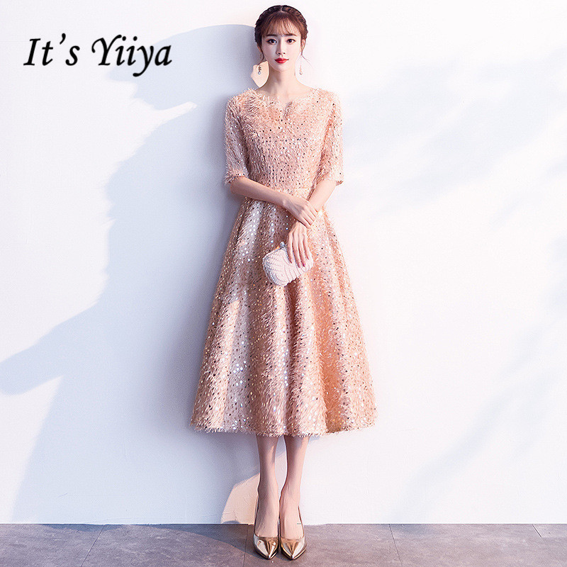 It's YiiYa Cocktail Dresses Half-sleeves Sequined Formal Dress Royal Tassel Zipper Back Knee-Length Party Ball Gowns E322