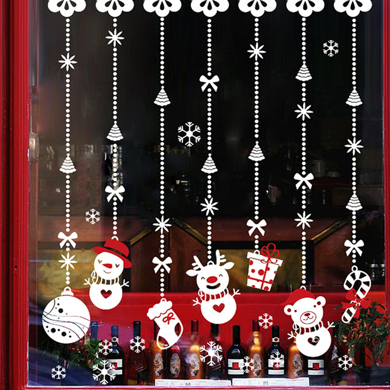 Us 80 Salju Natal Hiasan Dinding Toko Stiker Jendela Kaca Dekorasi Natal In Wall Stickers From Rumah Taman On Aliexpress