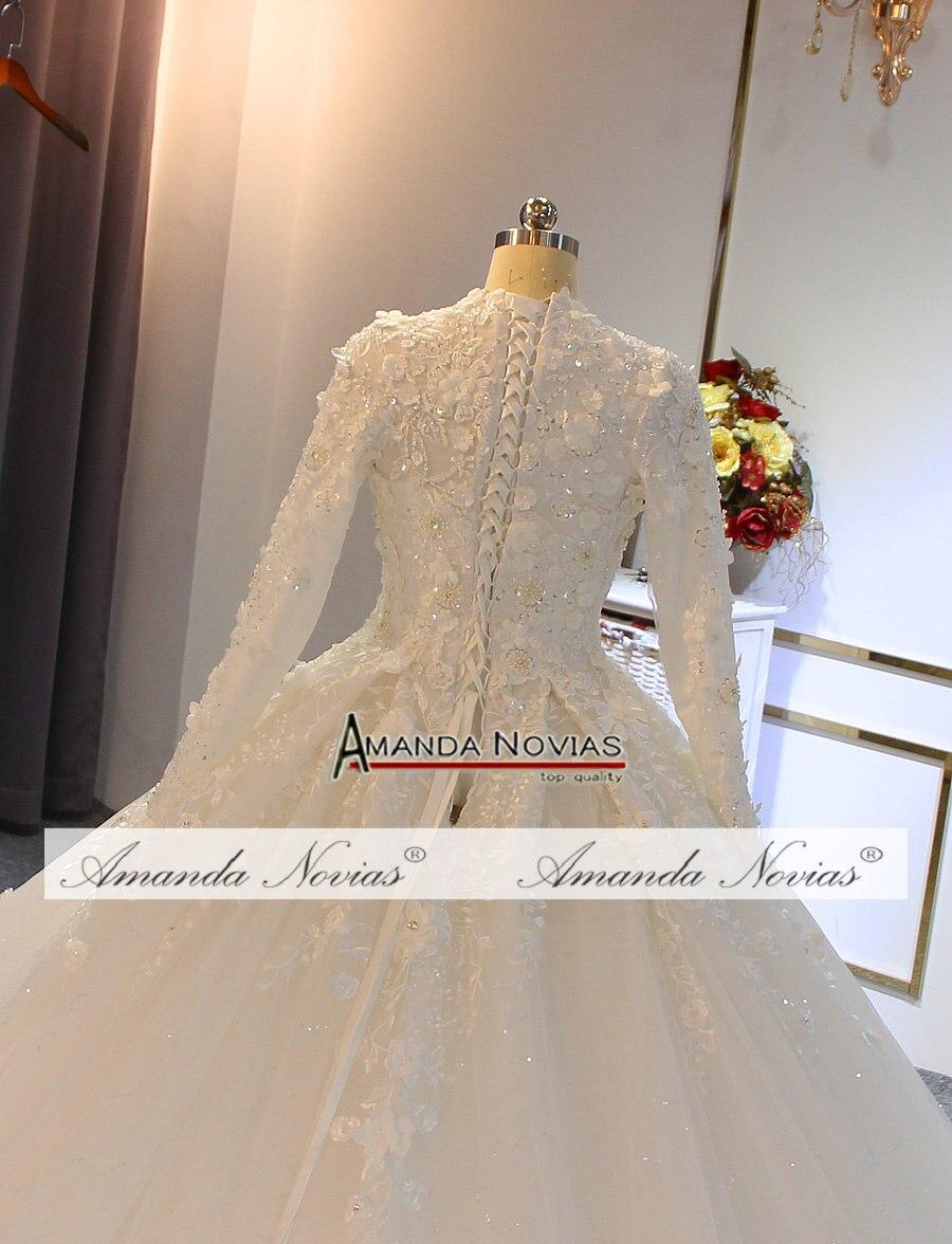 Image 3 - wedding gowns 2019 muslim wedding dress with flowers full lace bridal dressWedding Dresses
