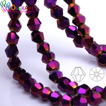 OlingArt 3mm/4mm/6mm/8mm Bicone Upscale Austrian crystals purple color beads Loose bead bracelet DIY Jewelry Making Accessories
