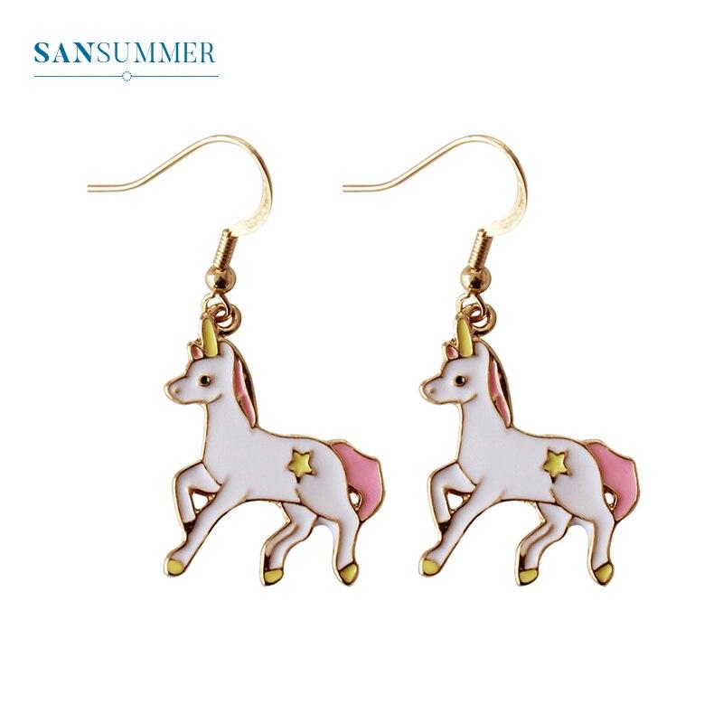 Cute Small Horse Drop Earrings For Women Fashion Hot Animal Shape Brincos Exquisite Dangle Long Acrylic Jewelry