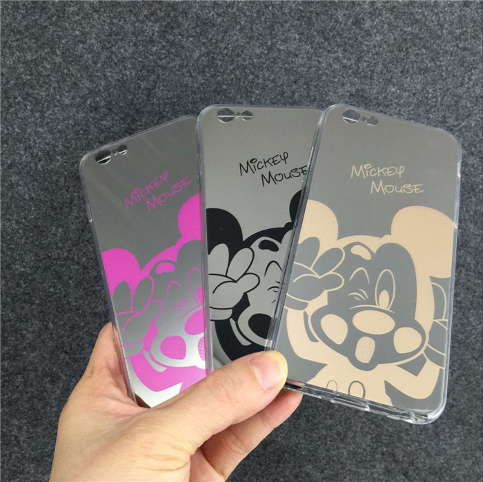 Mirror Style Cute Sweet Mickey Minnie Mouse TPU Fundas Phone Cases Cover For iPhone 5 5G 5S 6 6G 6S 4.7 6Plus 5.5 Inch hoesje