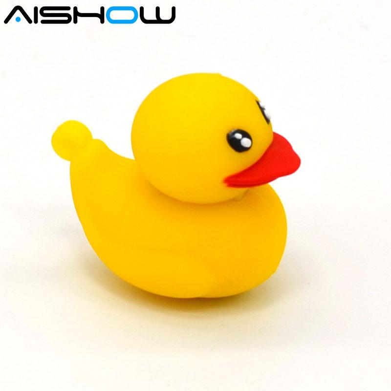 USB Flash Drive 4gb 8gb 16gb 32gb კალამი წამყვანი ყვითელი იხვის ჭუკი რეზინის B იხვი Cute სილიკონის საჩუქარი