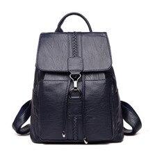 купить Retro Designer Backpacks Women Genuine Leather Backpacks Female School Bags For Teenager Girls Travel Shoulder Bag Bagpack онлайн