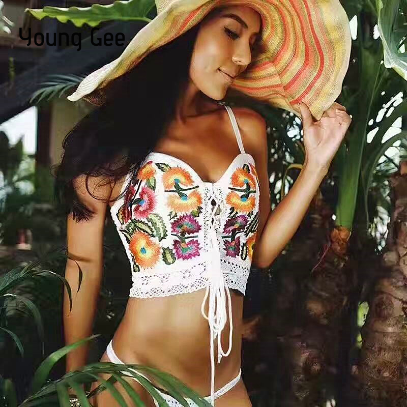 Young Gee Fashion Sexy Cross Lace up Hollow Out Camisole Top Summer Women Crop Tops Boho Floral National Embroidery Trend Camis