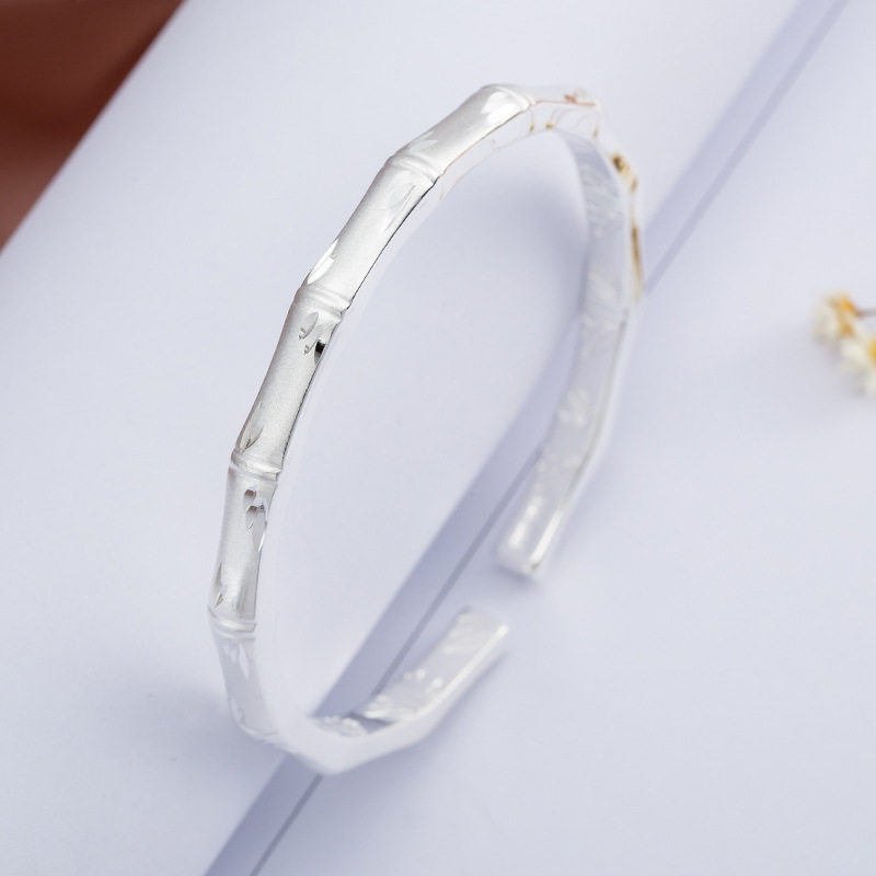 100 Authentic 999 Sterling Silver Bracelets Bangles For Women High Quality Bamboo Festival Womens Bracele Jewelry