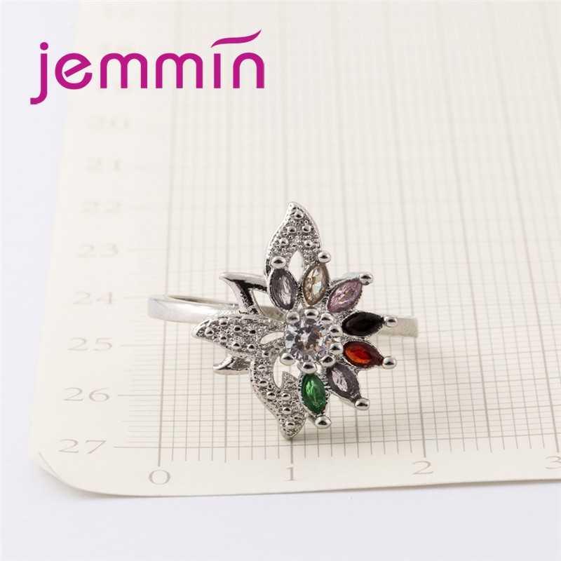ดอกไม้ที่มีเสน่ห์ Multicolor Tourmaline ใหญ่สีขาว CZ 925 เงินสเตอร์ลิงแหวนผู้หญิงเครื่องประดับขายส่ง
