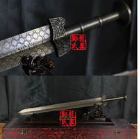 Chinese Antique Bronze Sword Straight Short Blade Metal Craft Martial Art For Goujian Imiated