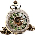 Steampunk Vintage Retro Copper Hand-wind Mechanical Pocket Watch Skeleton Luminous Green Dial Pendant Chain Fob Watches + BOX