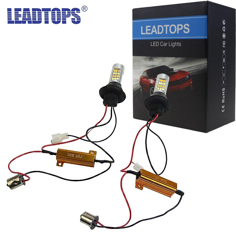 LEADTOPS T20 Led 42 alta potencia de luz corriente diurna + Luz de señal de giro DRL modo Dual 1156 T20 7440 WY21W LED lámparas corrientes CJ