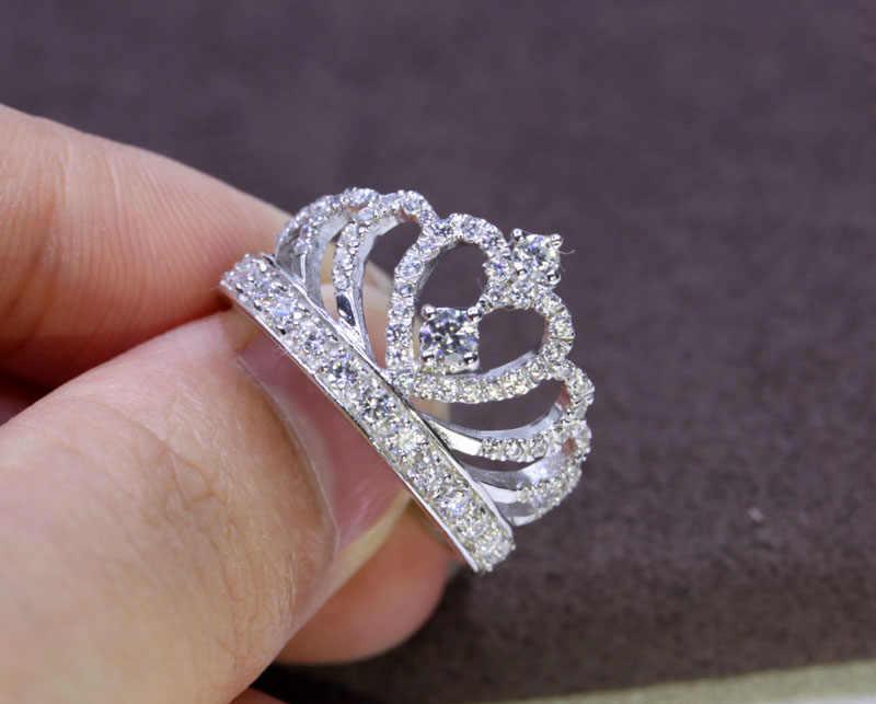 Enviar Certificado de Prata! Yanleyu Princesa Nupcial Crown Anel Genuine 925 Sterling Silver AAA Zircon Anéis de Casamento para As Mulheres PR257