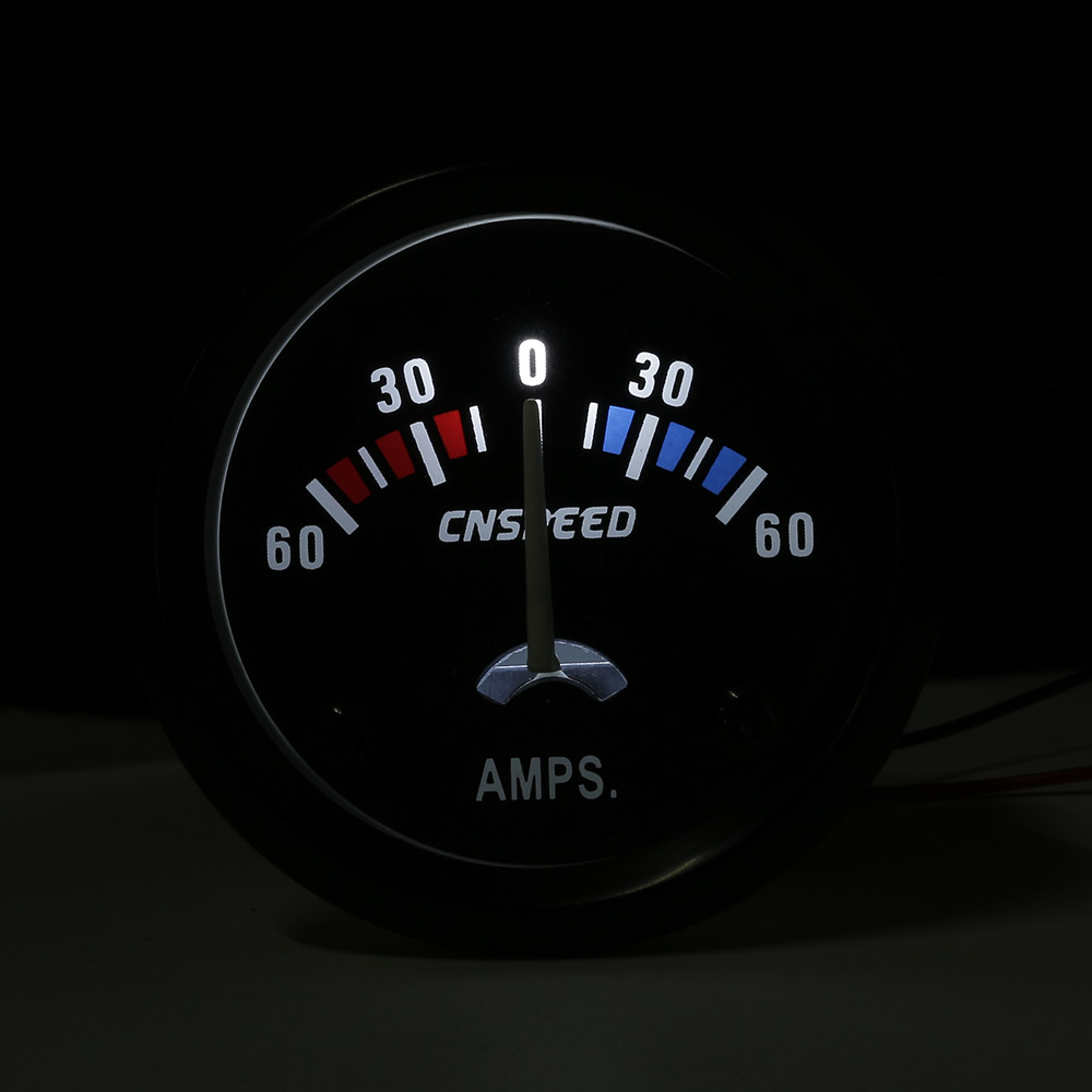 CNSPEED 2inch 52mm Car AMPS Meter 60 0 60A Ammeter White LED Light ...