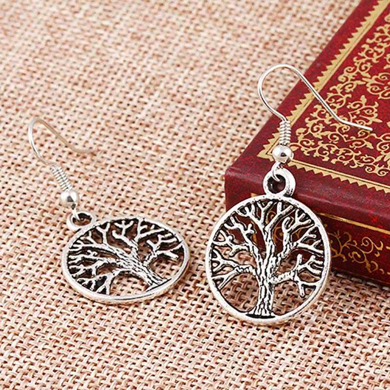 Antique Silver Plated Tree Life Drop Earrings Women Hollow Charm Dangle Earring Eardrop Ear Accessories Ethnic Jewelry