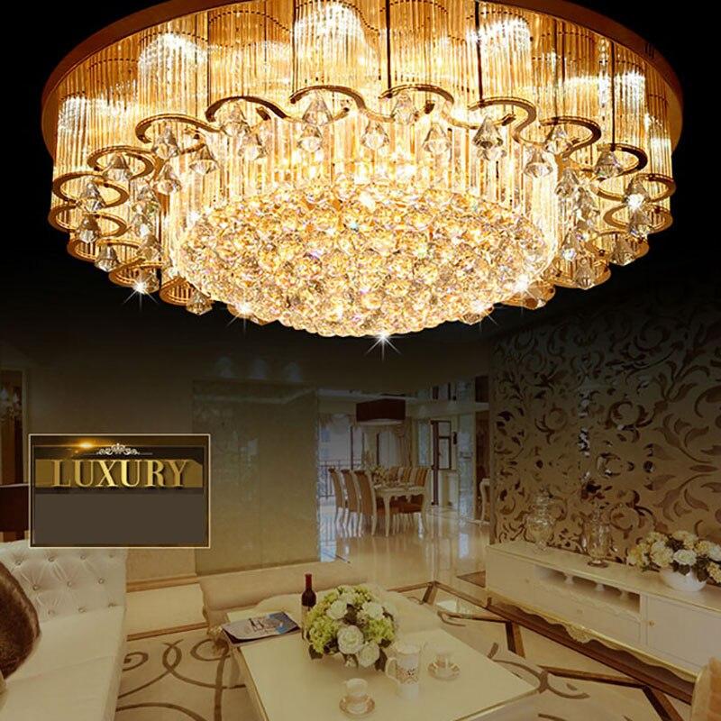 NOUVEAU Luxe Grand Cristal Plafonniers Avec Des Puces LED Circulaire Fleur Lampes Pour Foyer Hôtel Génie S'allume!