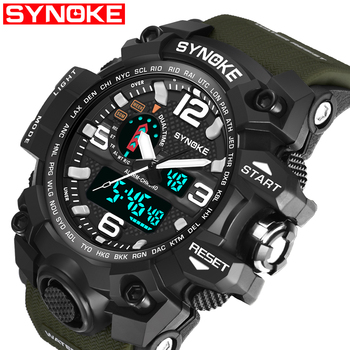 cc951216c307 SYNOKE nueva marca reloj de moda Hombres G estilo impermeable Deportes  Militares relojes choque lujo analógico Digital deportes relojes hombres