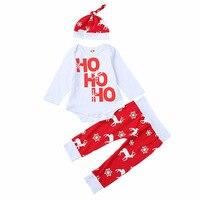 Godier 3pcs Xmas Set Newborn Baby Girls Boys Soft Cotton Letter Pint Christmas Long Sleeve Romper
