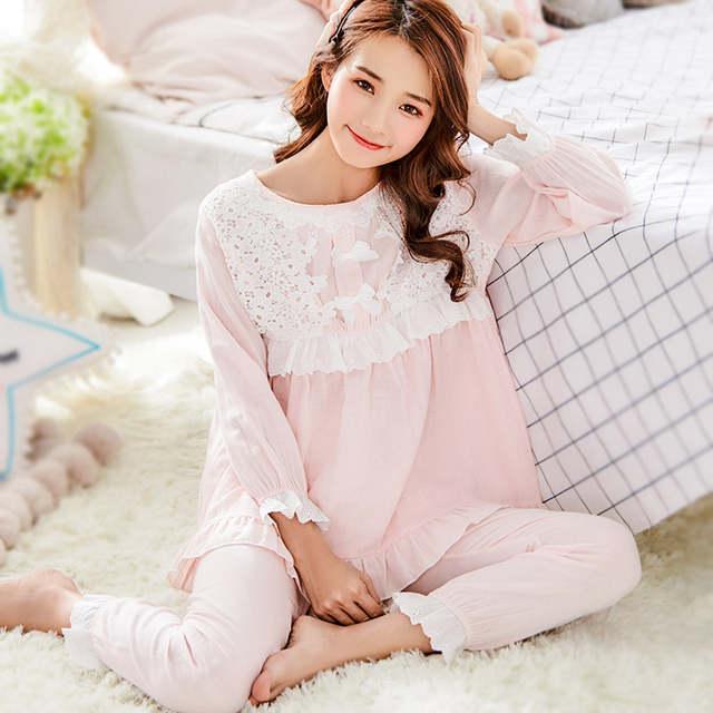 cbea5dff97e Online Shop Maternity nightwear Korean Pregnant Clothing Cotton Breastfeeding  Sleepwear pregnancy Clothes Pregnancy Pyjama Homewear Set A194
