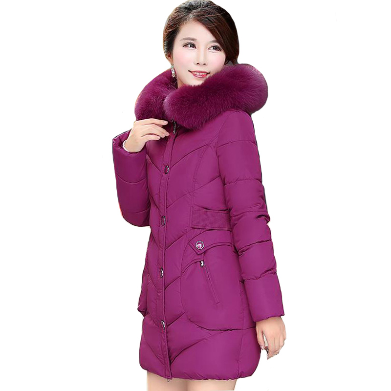 2019 High Quality Women Winter Jacket Plus Size 3Xl 4XL Outwear Hooded With Fur Collar Female Coat Long Warm   Parka   Abrigo Mujer