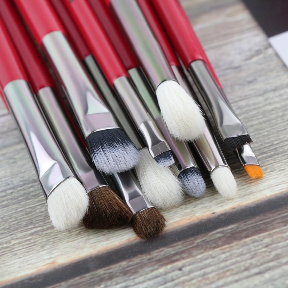 BEILI Red Eye Makeup Brush Set Goat Hair Pony hair Synthetic hair Eye shadow Blending Makeup Brush Set Professional 2
