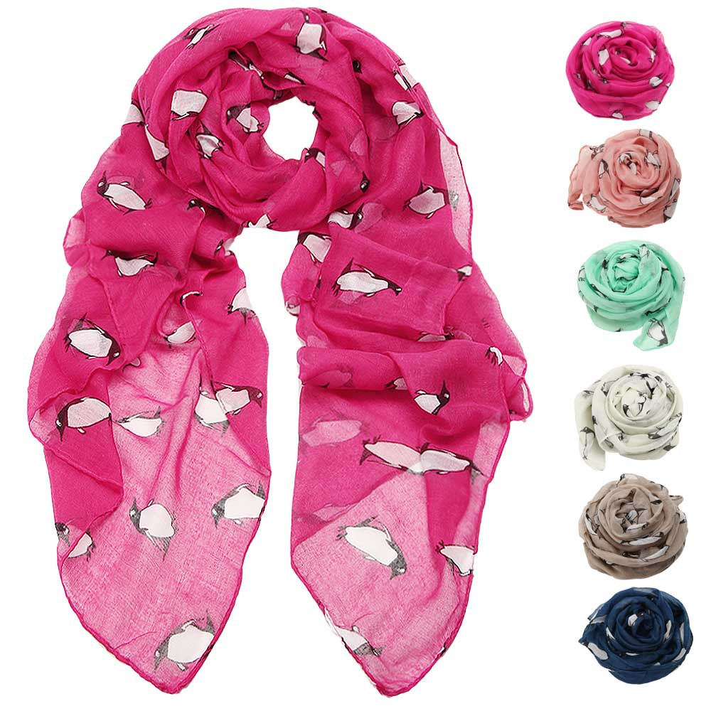 Womail Women Sarft Lady Fashion Penguin Print Shawl Voile Rectangle Scarf Scarves Bandana   2019 Dropship F12