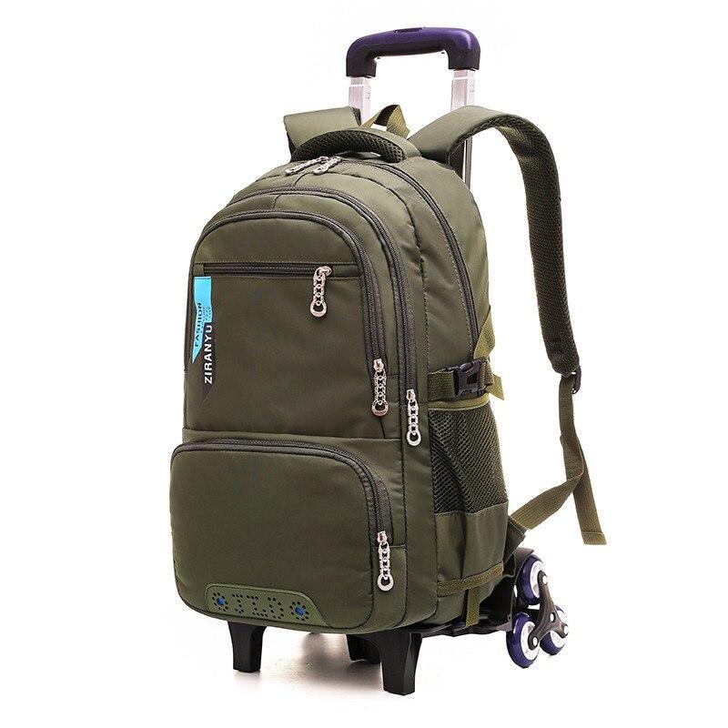 waterproof Trolley backpack Boys Girls children School Bag Wheels Travel bag Luggage backpack kids Rolling detachable