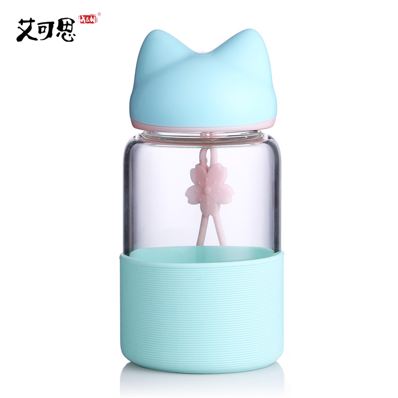 X&W Glass Water Bottle 340ML Mini Cute Fox Leak proof Bowl For Water With Rope Portable Tumbler Girls Hiking Silicone Jar