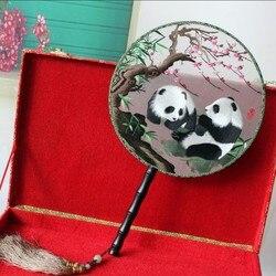 Китайский узор панда шелковая вышивка бизнес подарок cheongsam сценический Подиум шоу вентилятор T сценическое моделирование аксессуары