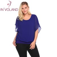 IN VOLAND Oversized 4XL Women Chiffon Blouse Blusas Tops Autumn Batwing Sleeve Patchwork Pullovers Loose Fit