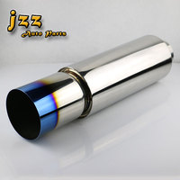 JZZ 76mm inlet Universal 304 Stainless Steel Burned Blue Silencer exhaust pipe car muffler for LEXUS