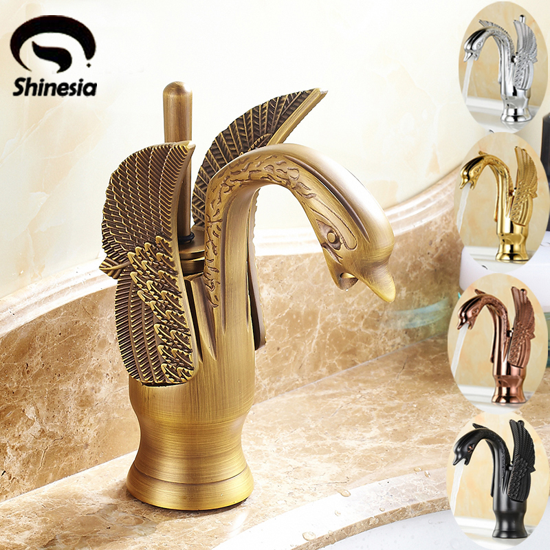 Antique Brass Swan Shape Bathroom Basin Sink Faucet One Hole Traditional Style Mixer Tap Deck