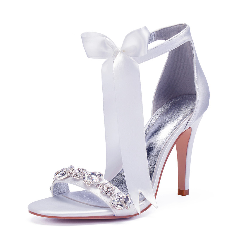 High Heels Crystals Wedding Sandals Shoes Women Ankle Strap Heeled Satin Prom Evening Bridal Party Women Summer Shoes
