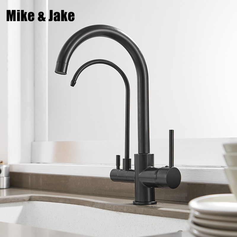 Black Filter Kitchen Faucets Deck Mounted Mixer Tap 360 Rotation With Water Purification Features Mixer Tap Crane For Kitchen