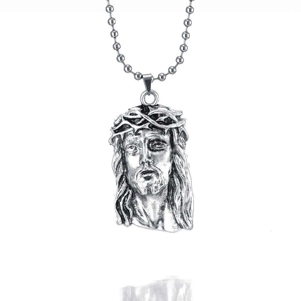 Hot silver color filled jesus piece pendant necklace for men women hip hop jewelry silver chunky chain long necklace gifts
