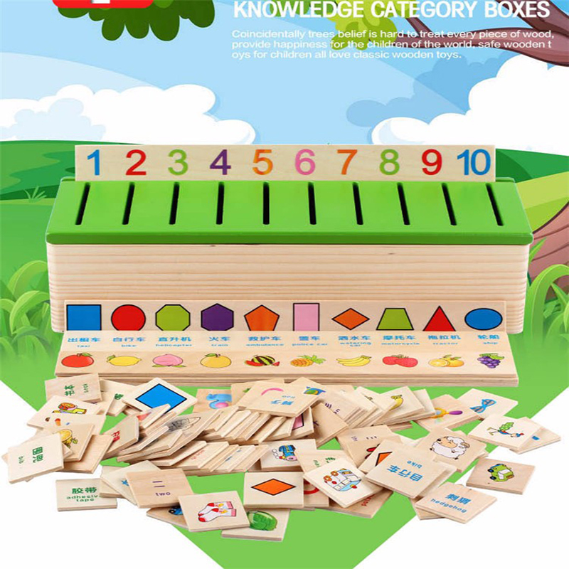 Montessori Educational Wooden Game Recognition Toy Baby Kids Early Learning Classification Box Toys for Children Math