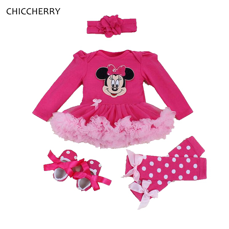 Pink Winter Baby Girl Clothes Infant Minnie Lace Tutu Set Headband & Legwarmers Toddler Birthday Party Dress Cartoon Kids Outfit new born baby girl clothes leopard 3pcs suit rompers tutu skirt dress headband hat fashion kids infant clothing sets