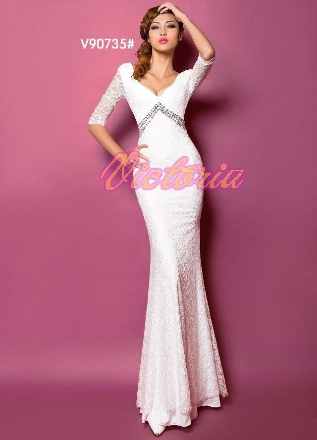 v-образным вырезом платье с поясом длинное вечернее платье халат de soiree Abiti да сывороток vestido de festa longo com H0296 - Цвет: White