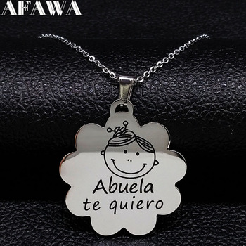 Fahsion Abuela te quiero Stainless Steel Necklace Women Black Enamel Silver Color Chain Necklace Jewelry collar mujer N18131 image