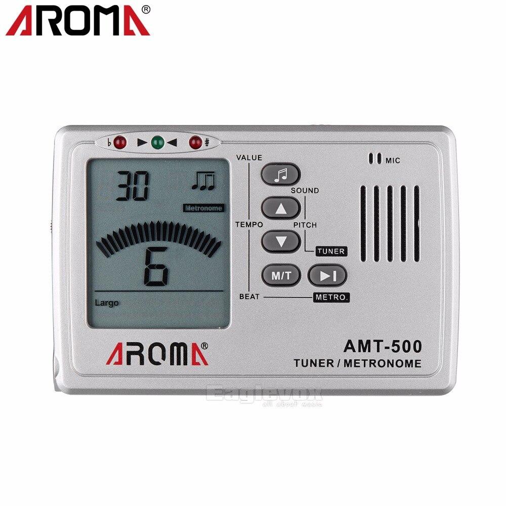 Aroma AMT-500 Metronome Tuner Tone Generator 9 rhythm Foldable Metal Holder Chromatic Tuner for Guitar Bass Violin Ukulele