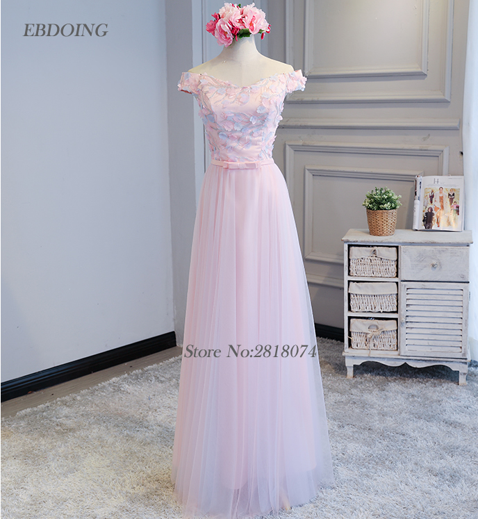 Charming   Bridesmaid     Dresses   2018 Boat Neck A-line With Appliques Robe De Soiree Floor-length Prom   Dress   Wedding Party   Dresses