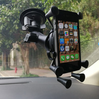 OEM Car Twist Lock Suction Cup Mount + 1 inch short arm with Universal X Grip Cell Phone Holder for smartphone for ram mounts