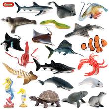 Oenux realistyczne morskie morskie kraby Ray figurki Model symulacja wieloryb rekin morskie życie zwierzęta kolekcja figurek pcv zabawka tanie tanio Unisex Film i telewizja Wyroby gotowe Zachodnia animiation Żołnierz gotowy produkt 3 lat As pictures Keep Away From Fire
