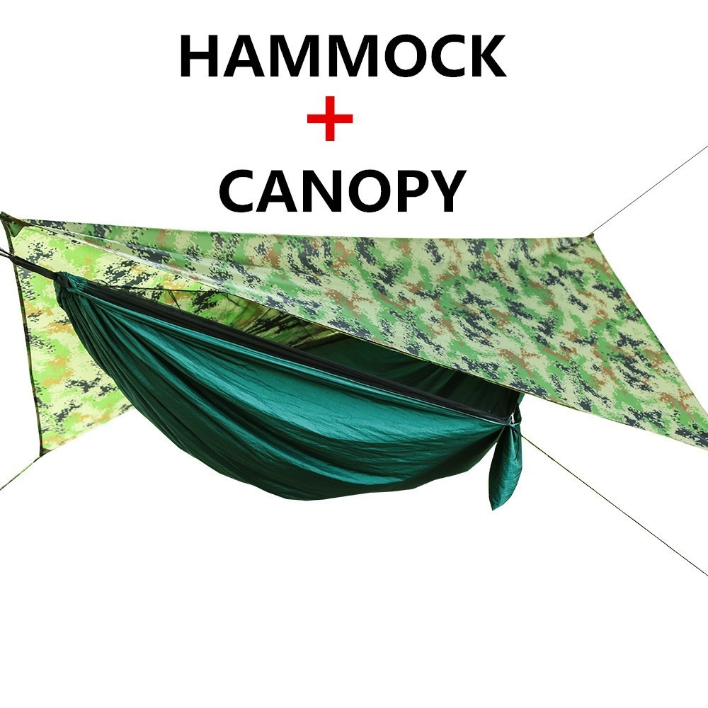 Portable Camping Hammock With Mosquito Net And Rain Fly Tarp Set Canopy Tent Outdoor Camping Mosquito Free Swing Bed Waterproof