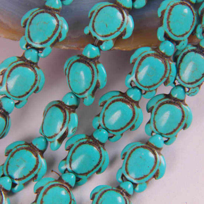 17x14MM Blue Howlite Turtle Beads Strand 16 Inch Jewelry For Gift Making C071