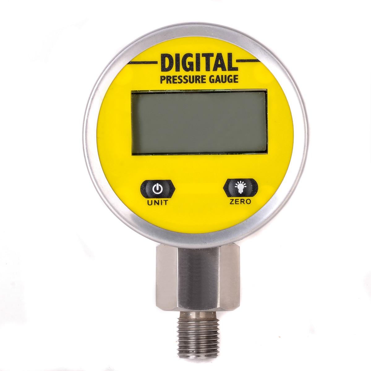 1pc Mayitr Durable Digital Hydraulic Pressure Gauge 0-250BAR / 3600PSI NPT1/4 Base Entry For Gas Water Oil Pressure Measuring te5000 0 3kpa pressure gauge