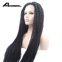 Anogol Long 1B Black Straight Glueless Heat Resistant Wigs Braided Synthetic Twists Front Lace Wigs for Women African