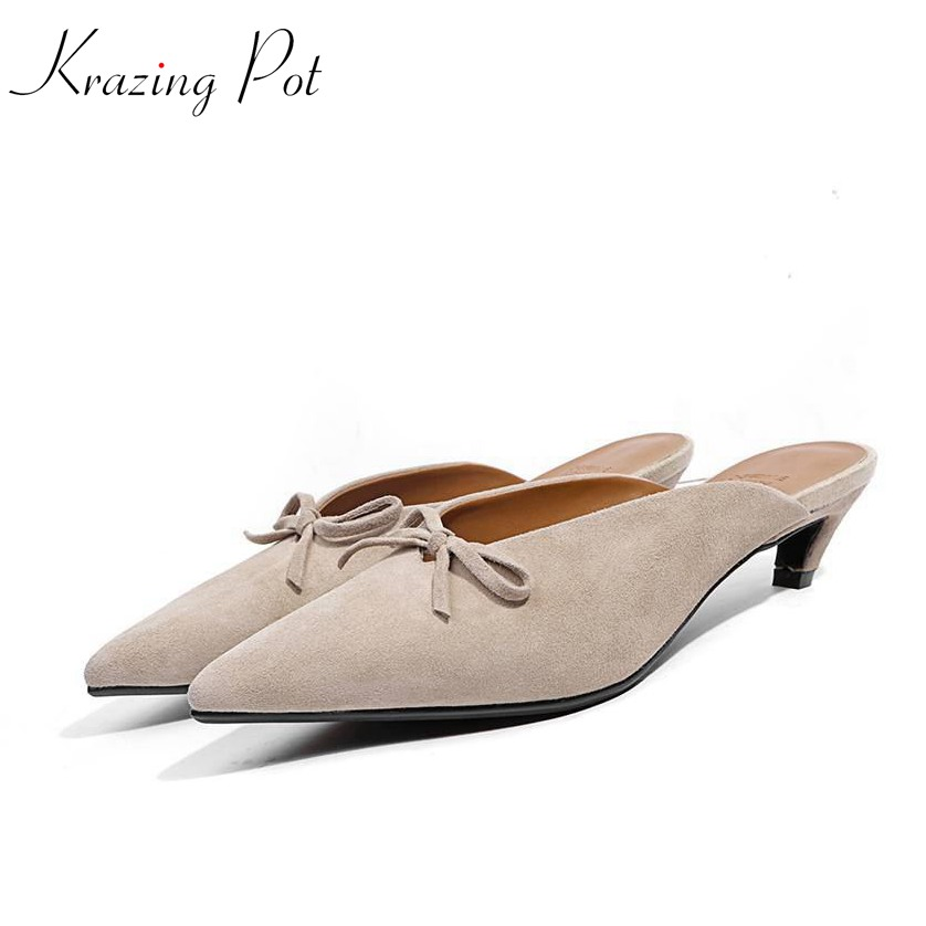 Krazing pot shoes women fashion sheep suede bowtie pointed toe preppy style stiletto high heels pumps slip on fairy mules L05 krazing pot empty after shallow shoes woman lace work flats pointed toe slip on sheep suede causal summer outside slippers l16