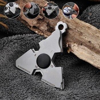 Nuevo Multi-función de acero inoxidable herramienta de supervivencia al aire libre autodefensa interruptor de vidrio llave inglesa portátil abrebotellas destornillador