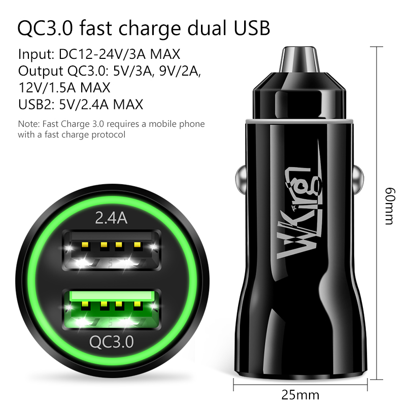 VVKing 5A Fast Car Charger Quick Charge 3 0 For Xiaomi iPhone Huawei LG SONY Samsung AFC FCP QC3 0 Charging 2USB Dual Car Charge in Car Chargers from Cellphones Telecommunications