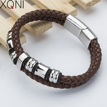 New Fashion Brand Cuff Brown Leather Bracelets For Women Casual Vintage Handmade Charm Female Stainless Steel Bracelets Bangles(China)
