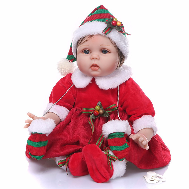 2018 Newest Christmas Reborn Dolls Babies 55cm/ 40cm Realistic Baby Girl Doll with Santa Claus Dress Bebe Reborn Xmas Gift xmas santa claus 1st brown top baby girl pettiskirt outfit 1 8y mapsa0036